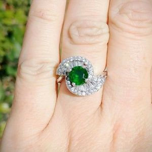 Vintage Art Deco Sterling Silver Tourmaline Ring